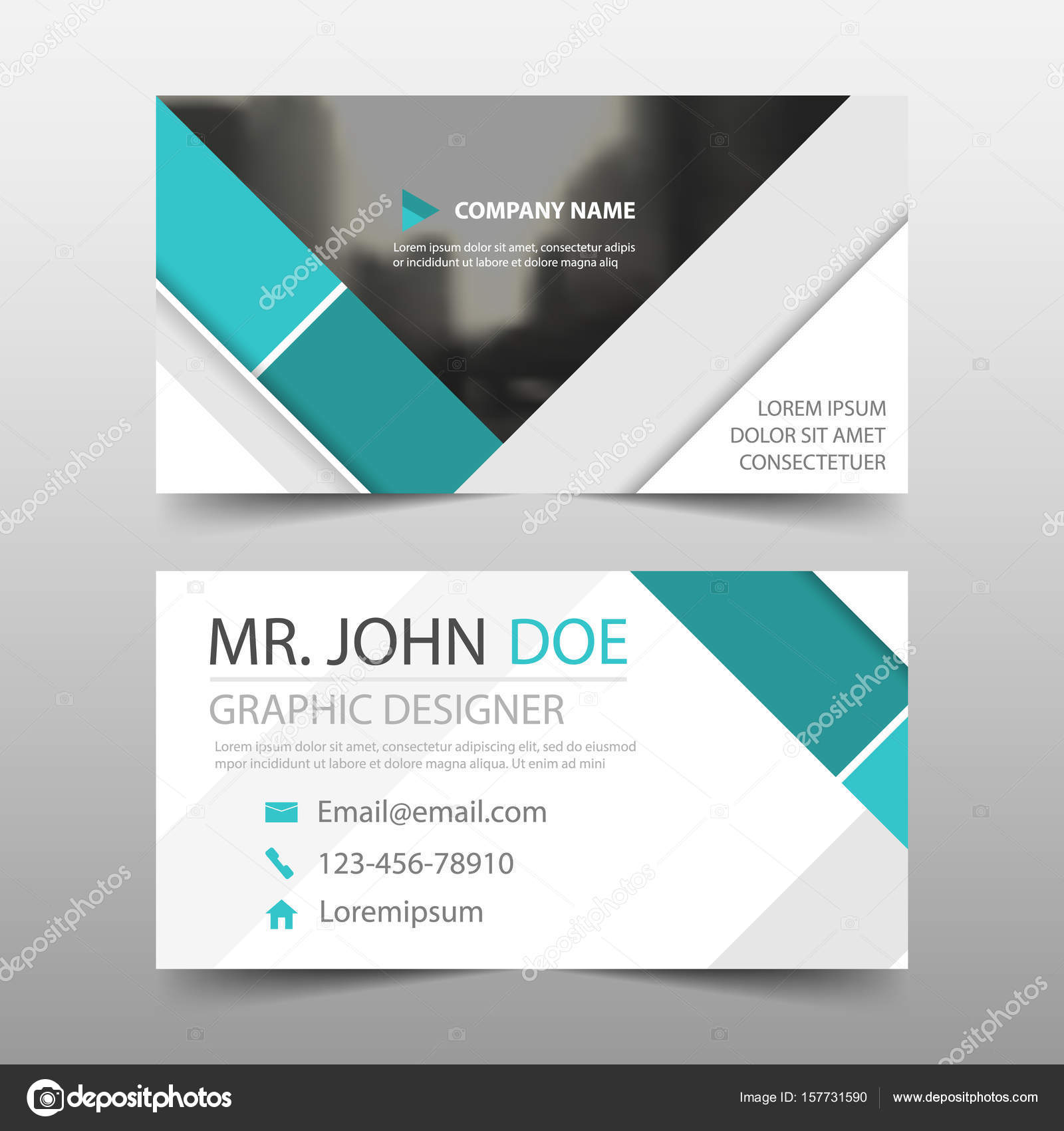 Green abstract corporate business card, name card template ...