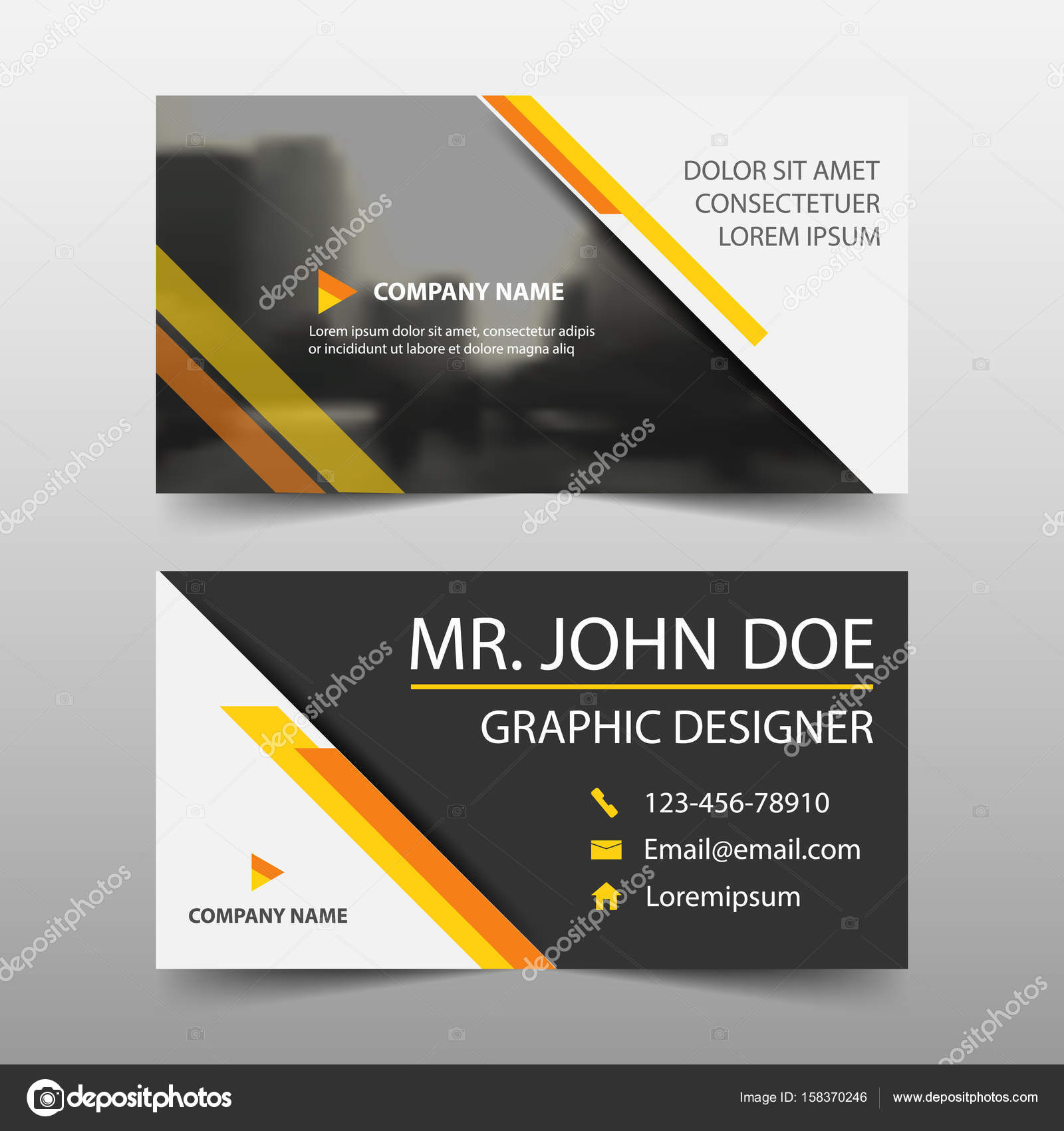Yellow corporate business card name card template horizontal yellow corporate business card name card template horizontal simple clean layout design template business banner template for website vector by reheart Images