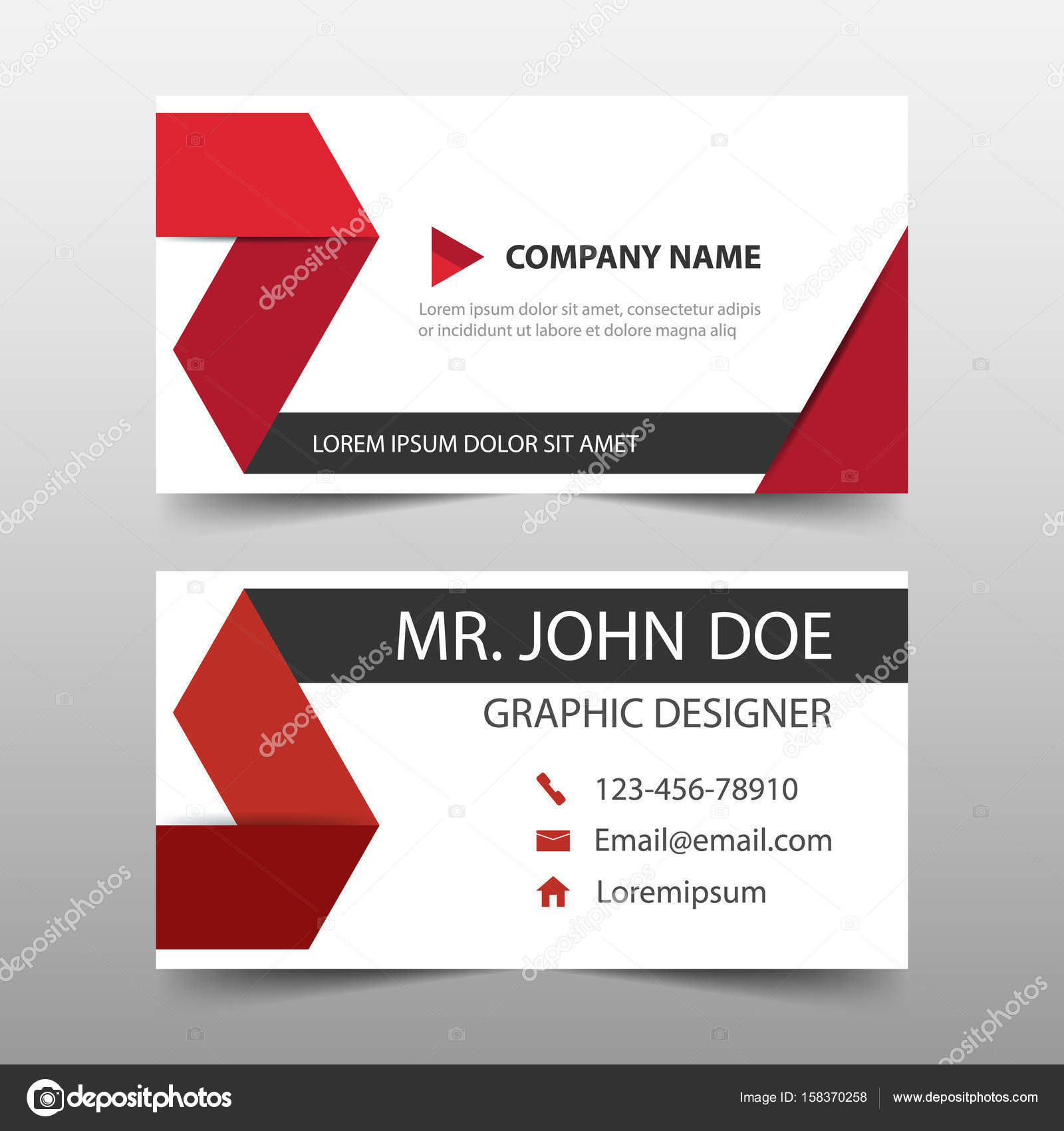 Red corporate business card, name card template ,horizontal simple ...