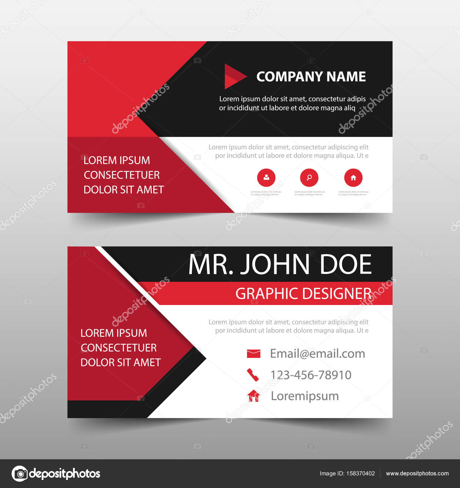 Red corporate business card name card template horizontal simple red corporate business card name card template horizontal simple clean layout design template cheaphphosting Choice Image