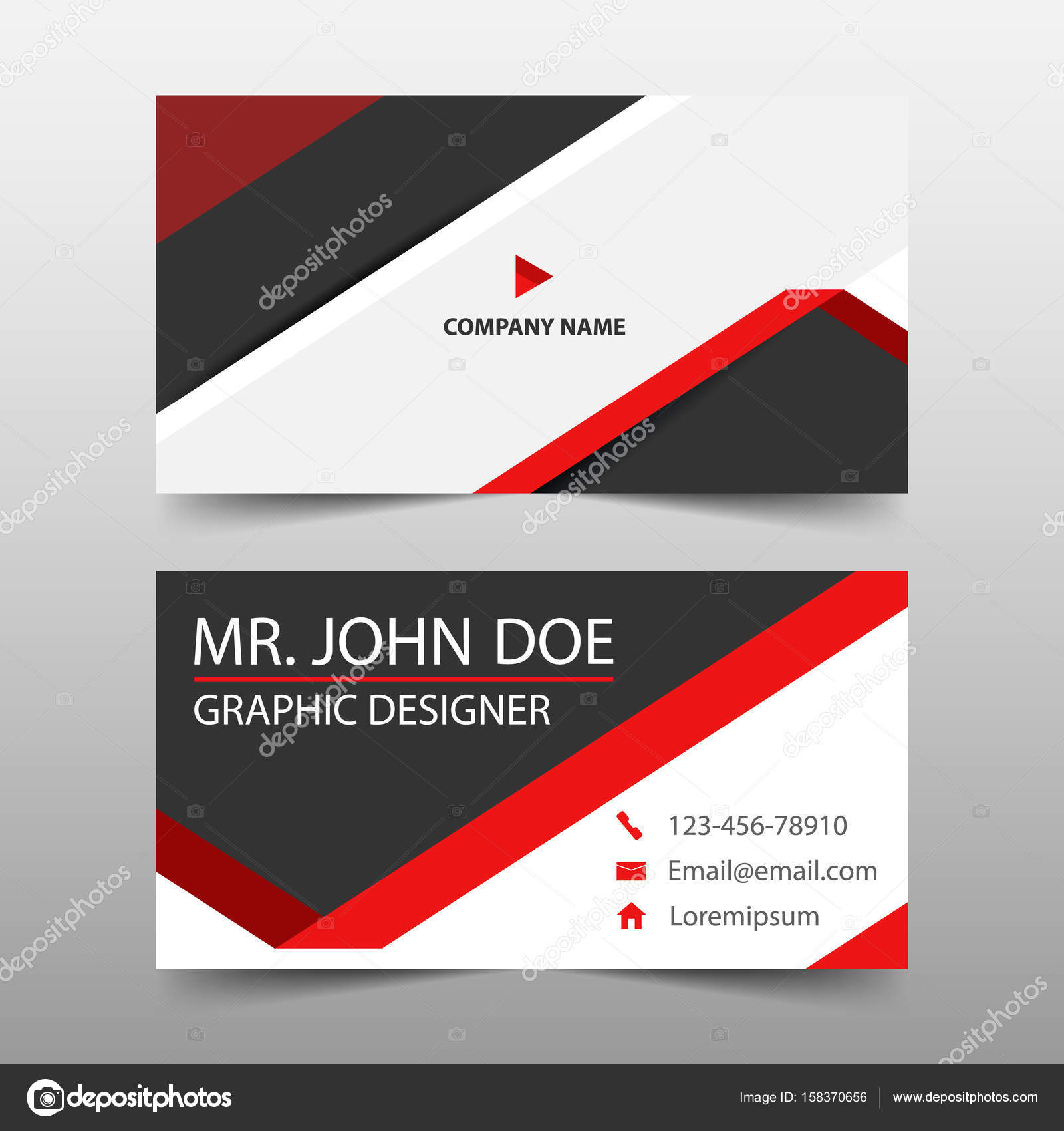 Red triangle corporate business card name card template horizontal red triangle corporate business card name card template horizontal simple clean layout design template flashek Choice Image