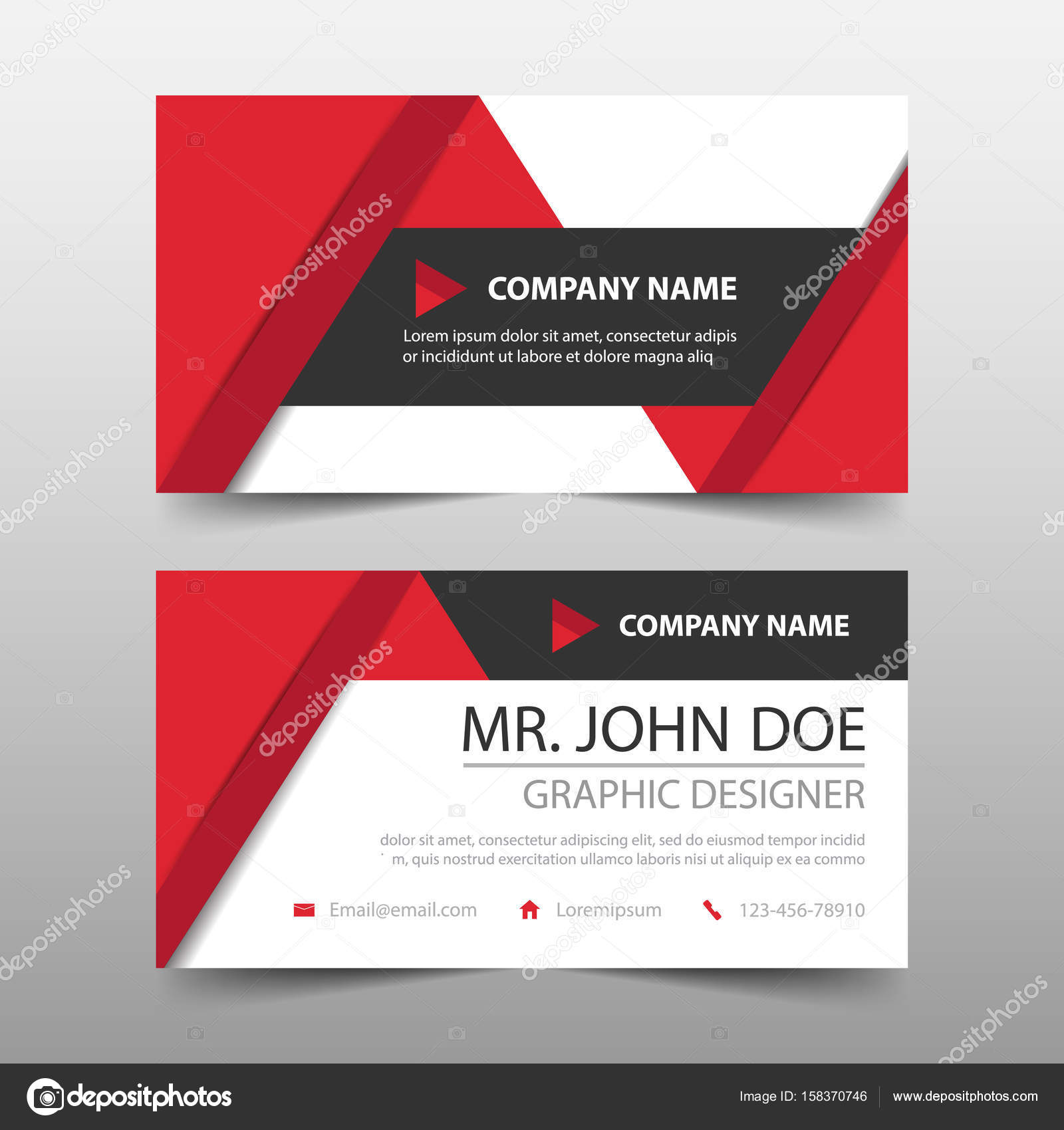 Red triangle corporate business card name card template horizontal red triangle corporate business card name card template horizontal simple clean layout design template fbccfo Choice Image