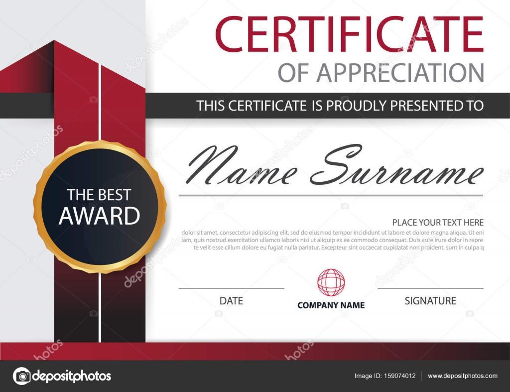 Rote Eleganz horizontale Zertifikat mit Vektor Illustration, weißen ...