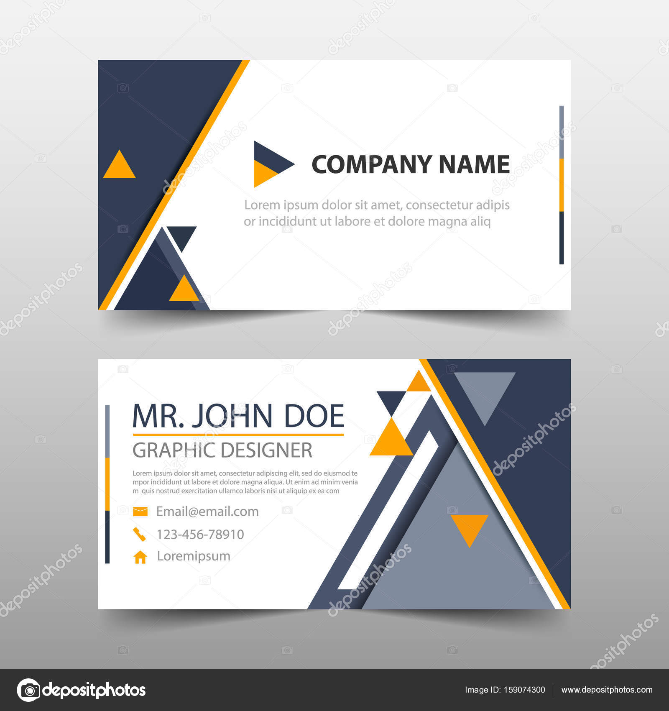 Carte De Visite Entreprise Triangle Jaune Noir Modle Du Nom Conception Horizontale Simple Disposition Propre Business
