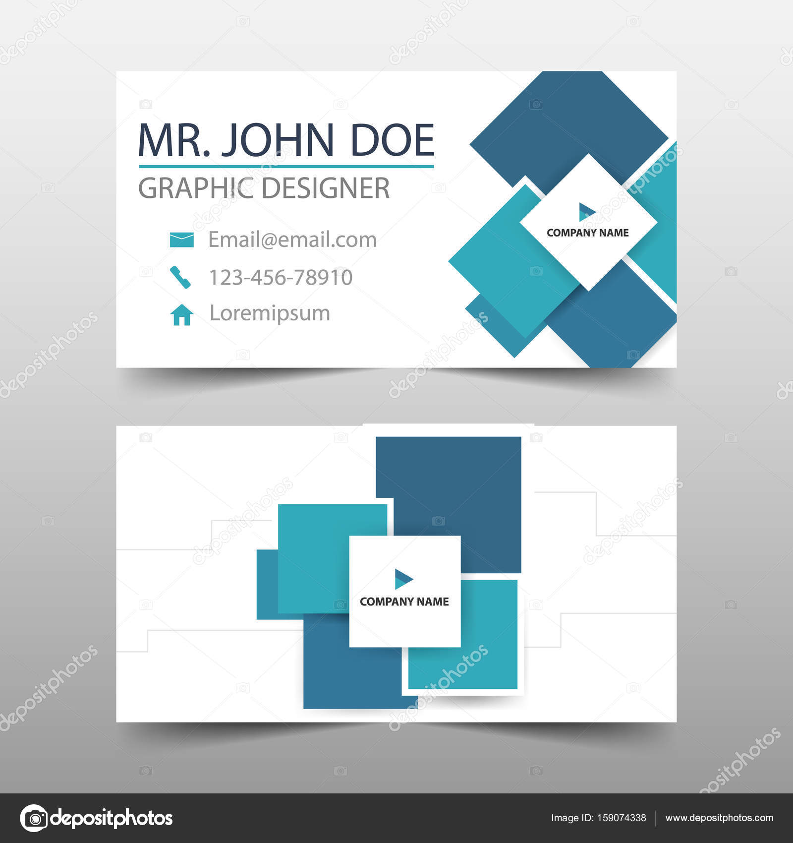 blue square corporate business card name card template horizontal