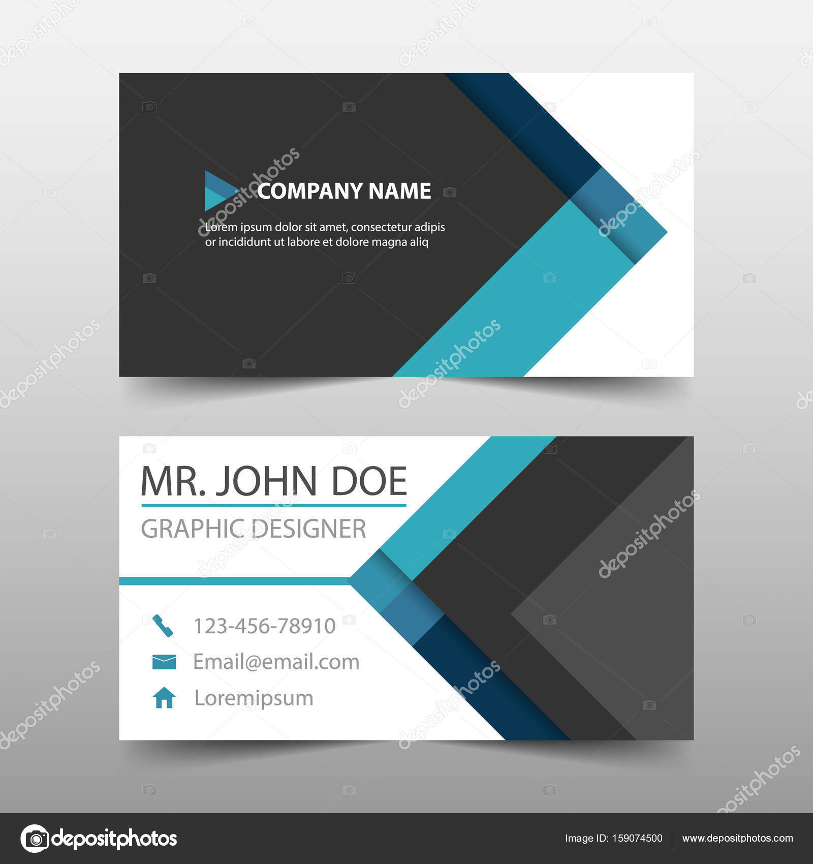 Blue triangle corporate business card name card template blue triangle corporate business card name card template horizontal simple clean layout design template business banner template for website vector by friedricerecipe Gallery