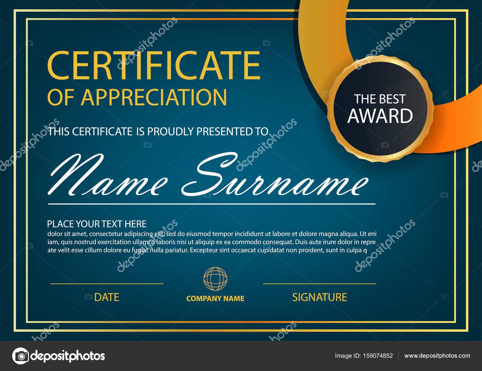 Blaue Eleganz horizontale Zertifikat mit Vektor Illustration, weißen ...