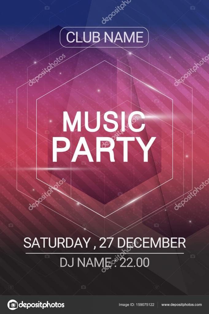 zeshoek muziek partij edm geluid poster. elektronische club leuke