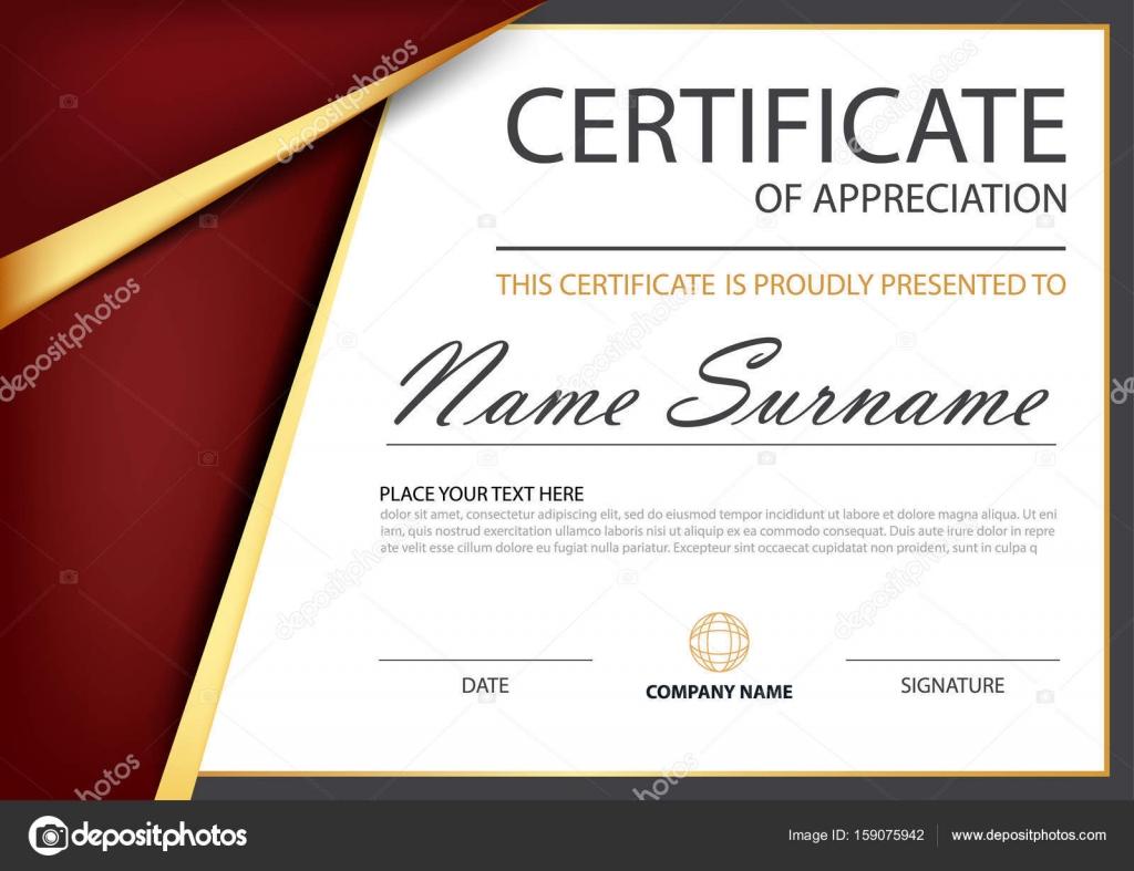 Rote Eleganz horizontal-Zertifikat in gold mit Vektor Illustration ...