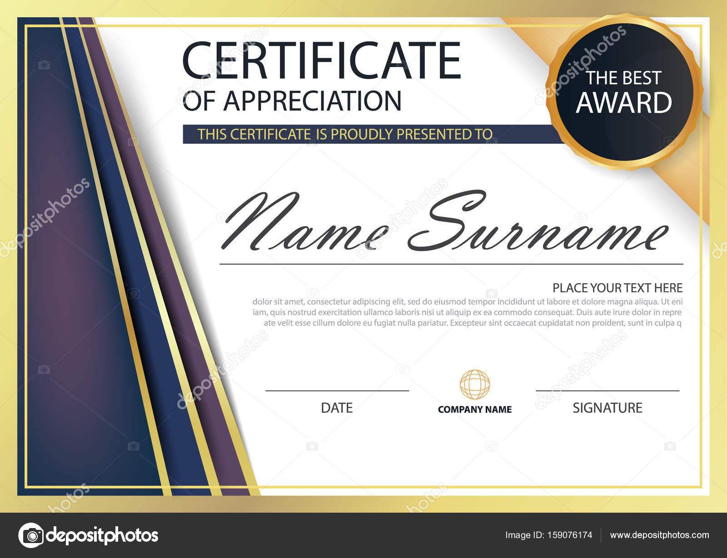 Lila gold Eleganz horizontale Zertifikat mit Vektor Illustration ...