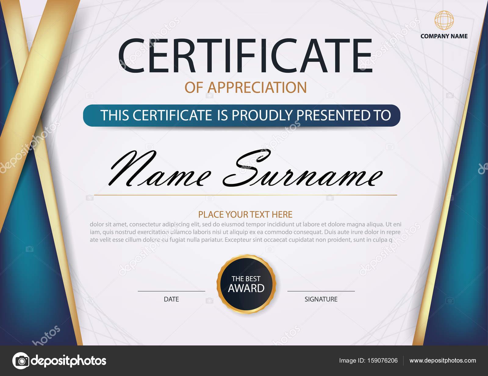 Blau gold Eleganz horizontale Zertifikat mit Vektor Illustration ...