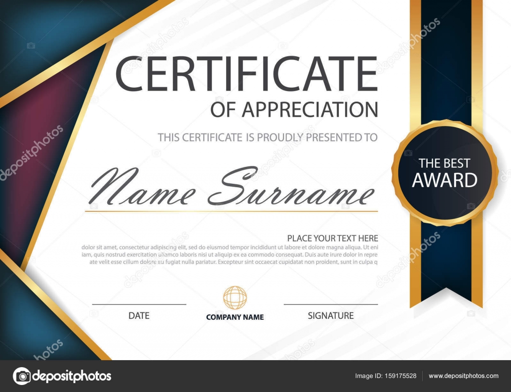 Lila blaue Eleganz horizontale Zertifikat mit Vektor Illustration ...