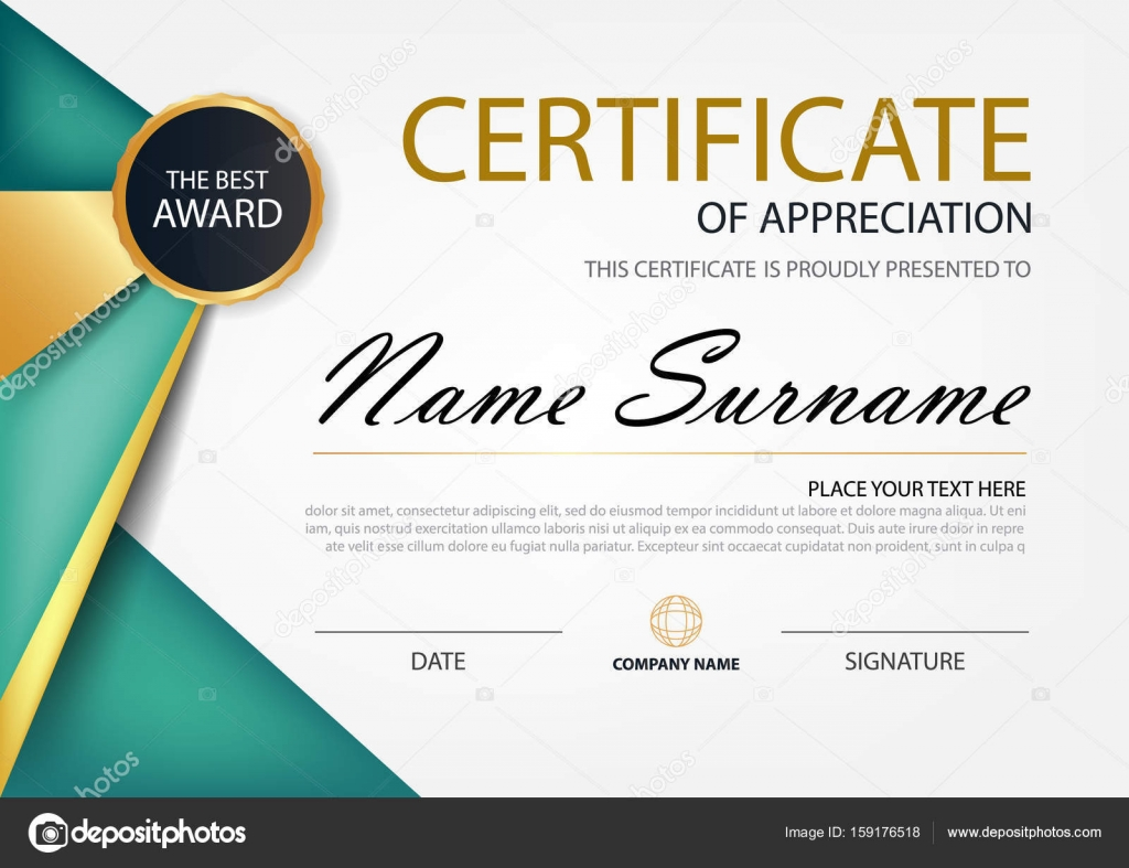 Green And Gold Elegance Horizontal Certificate With Vector