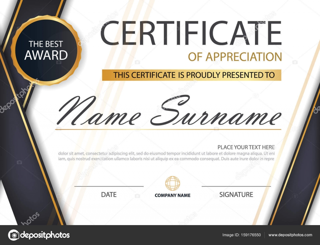 Gold and black Elegance horizontal certificate with Vector ...