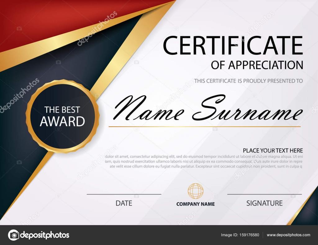 Rote und schwarze Eleganz horizontale Zertifikat mit Vektor ...