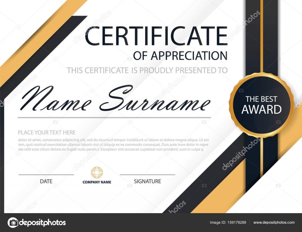 Gold und schwarze Eleganz horizontale Zertifikat mit Vektor ...
