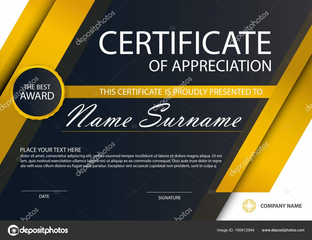 Schwarze Eleganz horizontal-Zertifikat in Gold mit Vektor ...