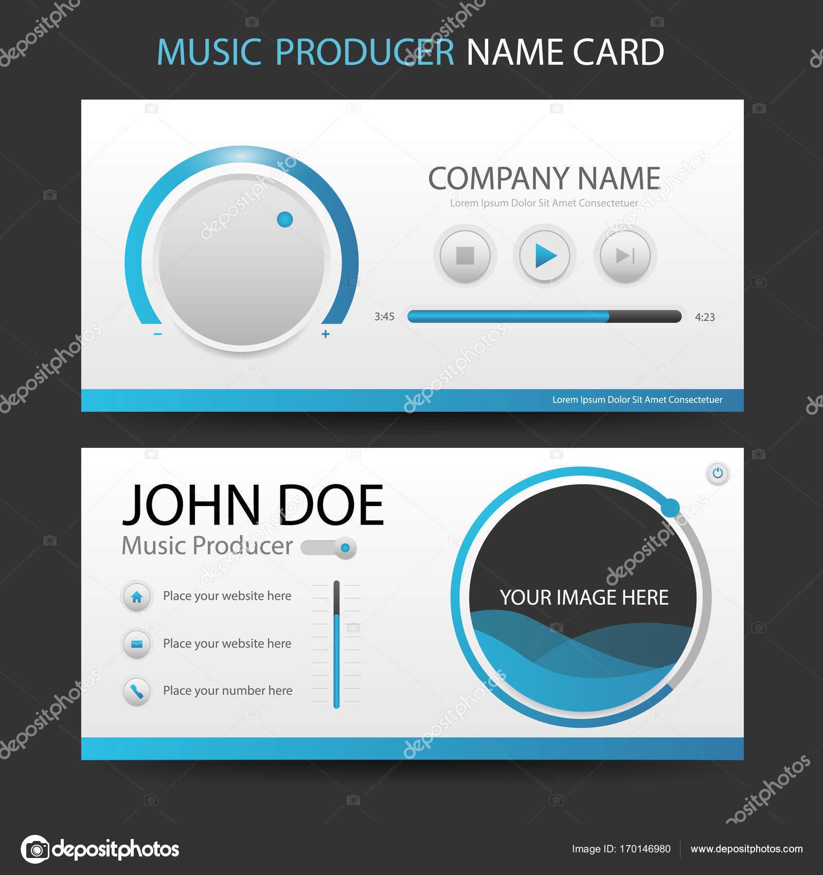 Carte De Visite Producteur Musique Bleu Avec Interface Design Conception Modle
