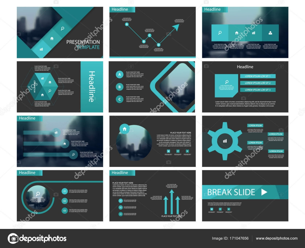 Green Abstract presentation templates, Infographic elements template ...