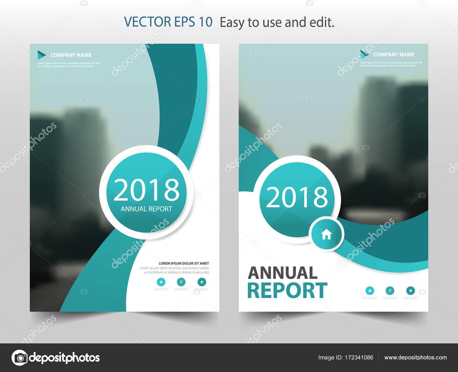 green curve circle annual report brochure design template vector