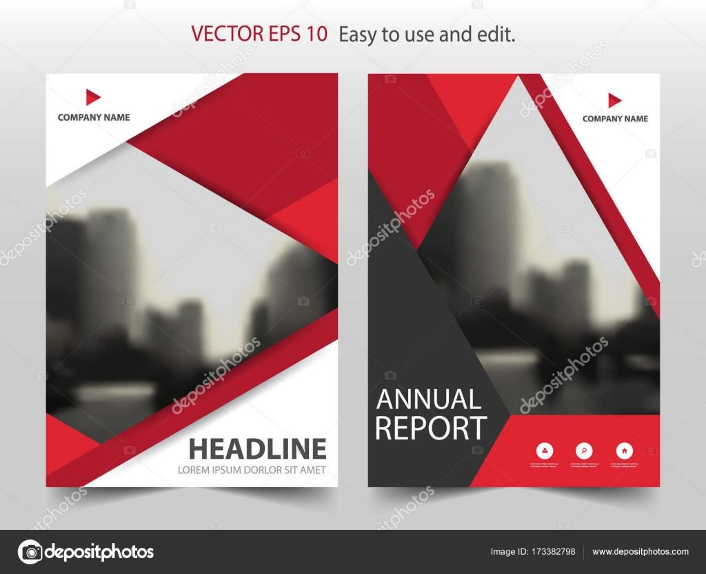 Triángulo rojo Resumen folleto anual Informe diseño plantilla vector ...