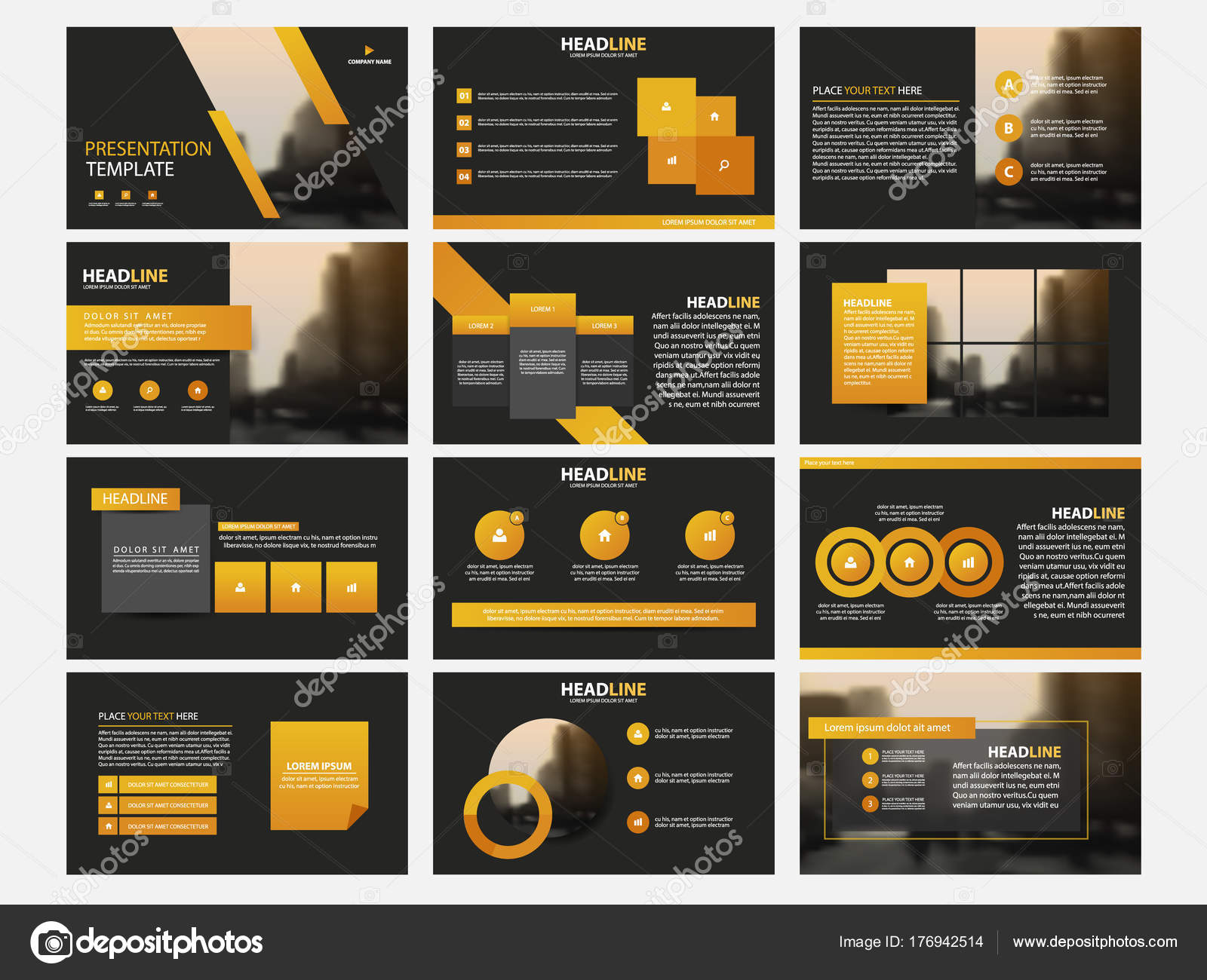 Infographic elements template flat design set for annual report ...
