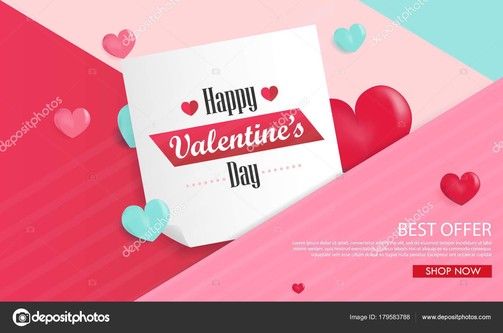Valentinstag Hintergrund Mit Luftballons Herzen Verkauf Banner