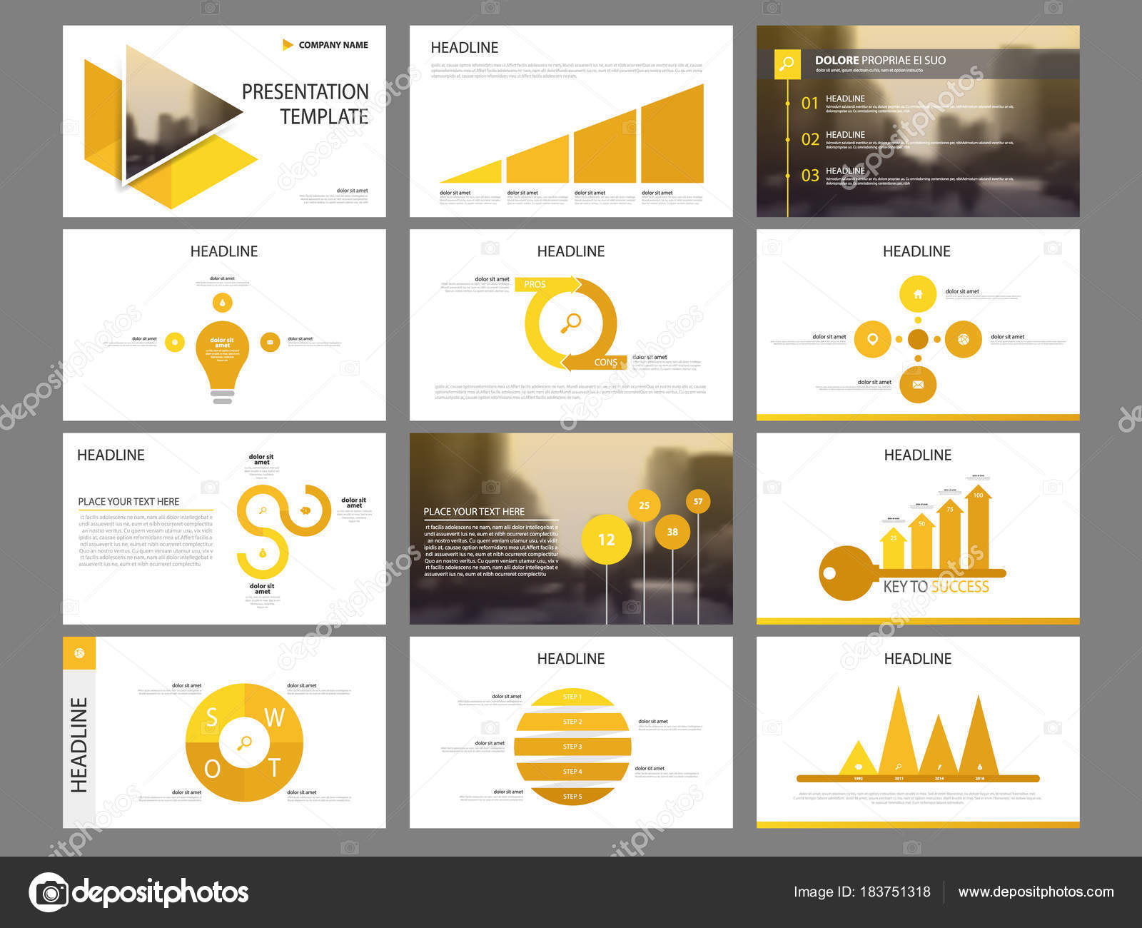 bundle infographic elements presentation template business annual, Report Presentation Template, Powerpoint templates