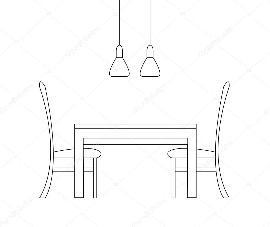sketch of the dining room. two chairs, a table and two lamps