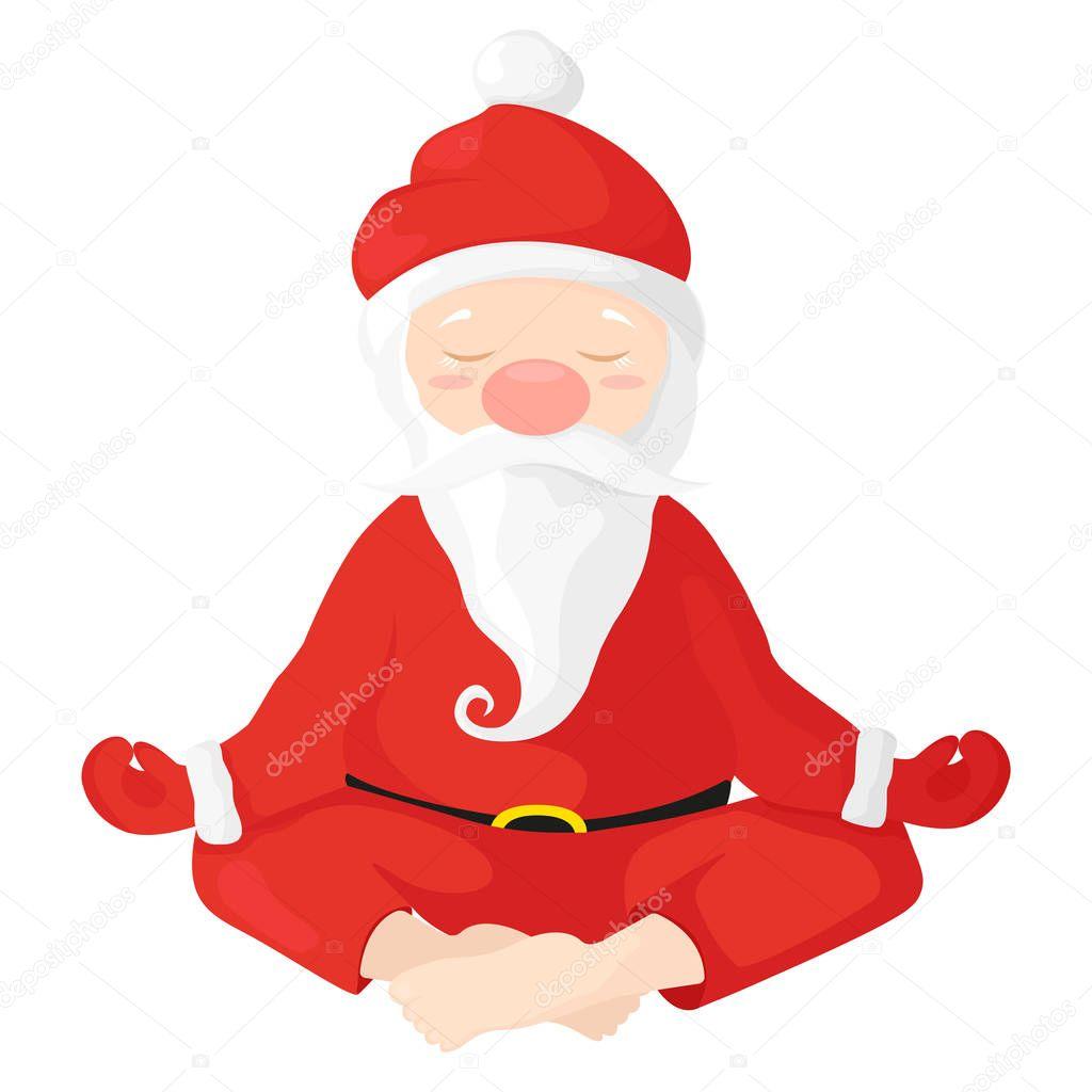 kerstman zit in een lotus positie santa claus is. Black Bedroom Furniture Sets. Home Design Ideas