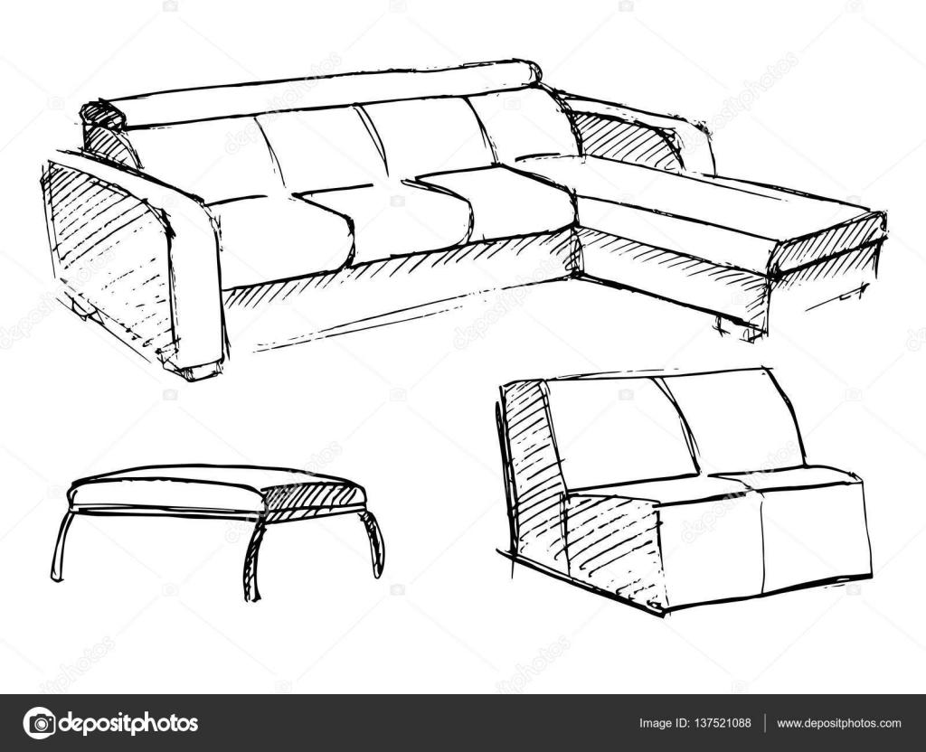 icône de dessin de vecteur de canapé isolé sur fond — image