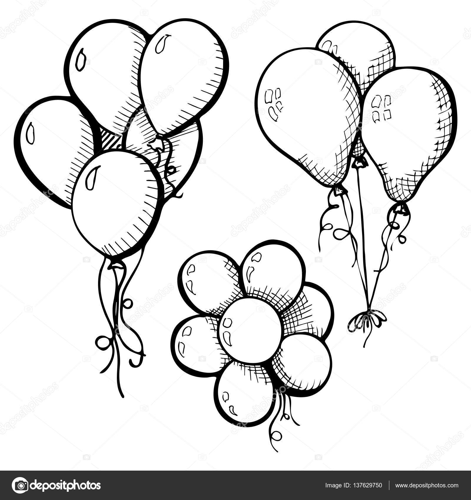 gruppe von luftballons an einer schnur hand gezeichnet isoliert auf einem wei en hintergrund. Black Bedroom Furniture Sets. Home Design Ideas