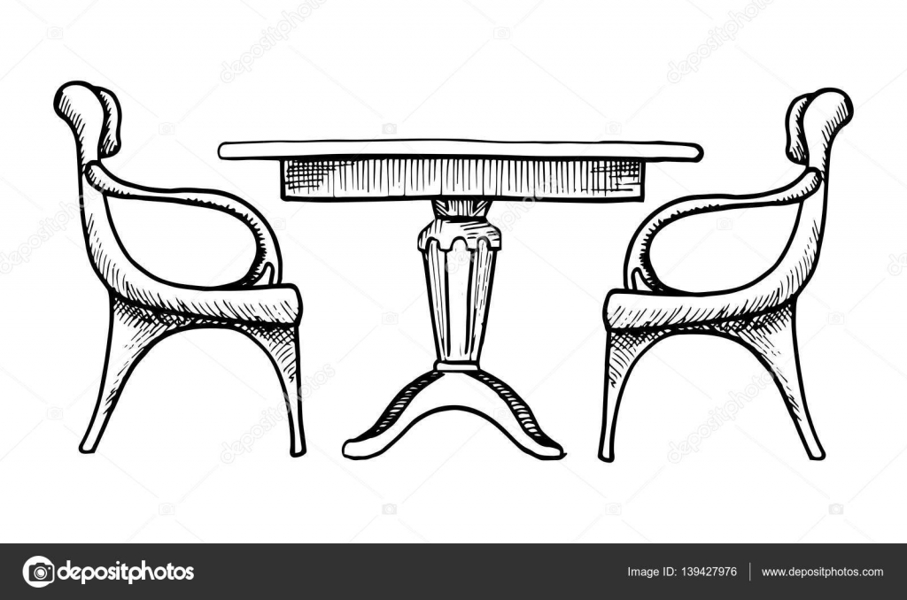 Table Sketch Two Chairs And A Vector Ilration In Style