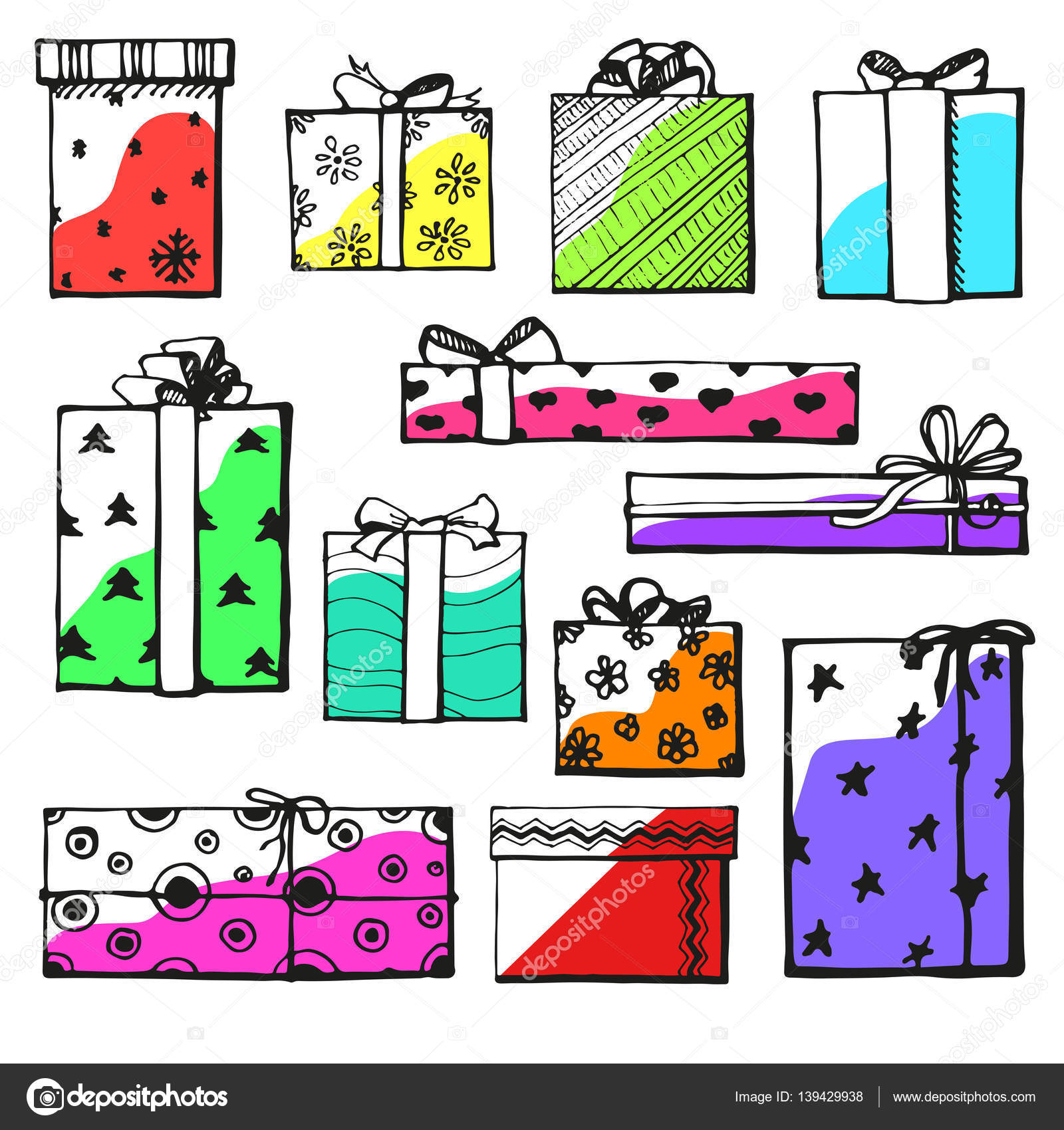Hand Drawing Vector Set With Gifts Gifts For Different Holidays On