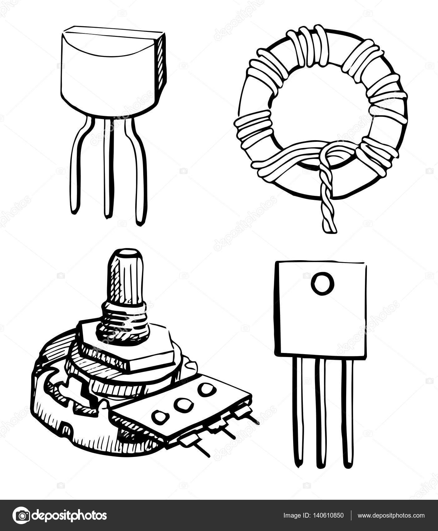 conjunto de componentes eletr u00f4nicos  potenci u00f4metro  transistor  indutor isolado no fundo branco