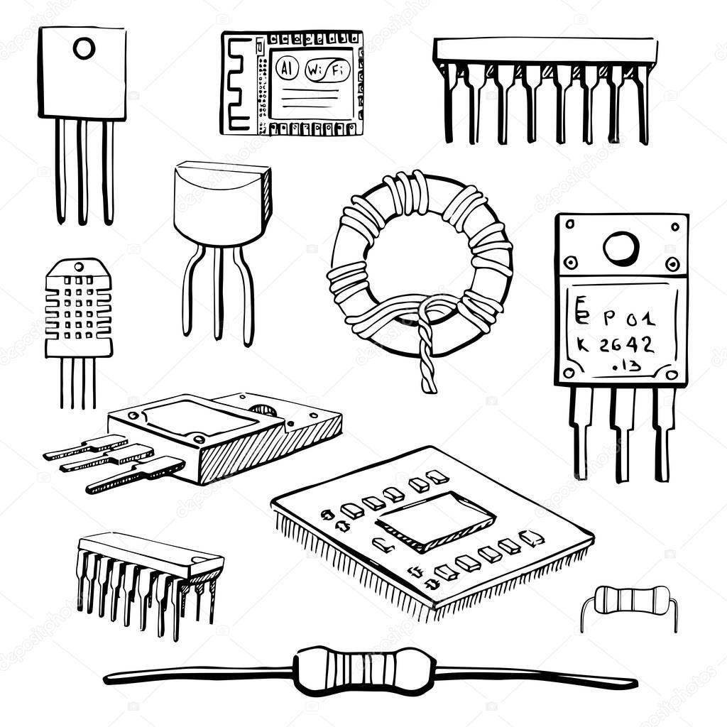 conjunto de componentes electr u00f3nicos  transistores  inductor  microchip  sensor  m u00f3dulo wi