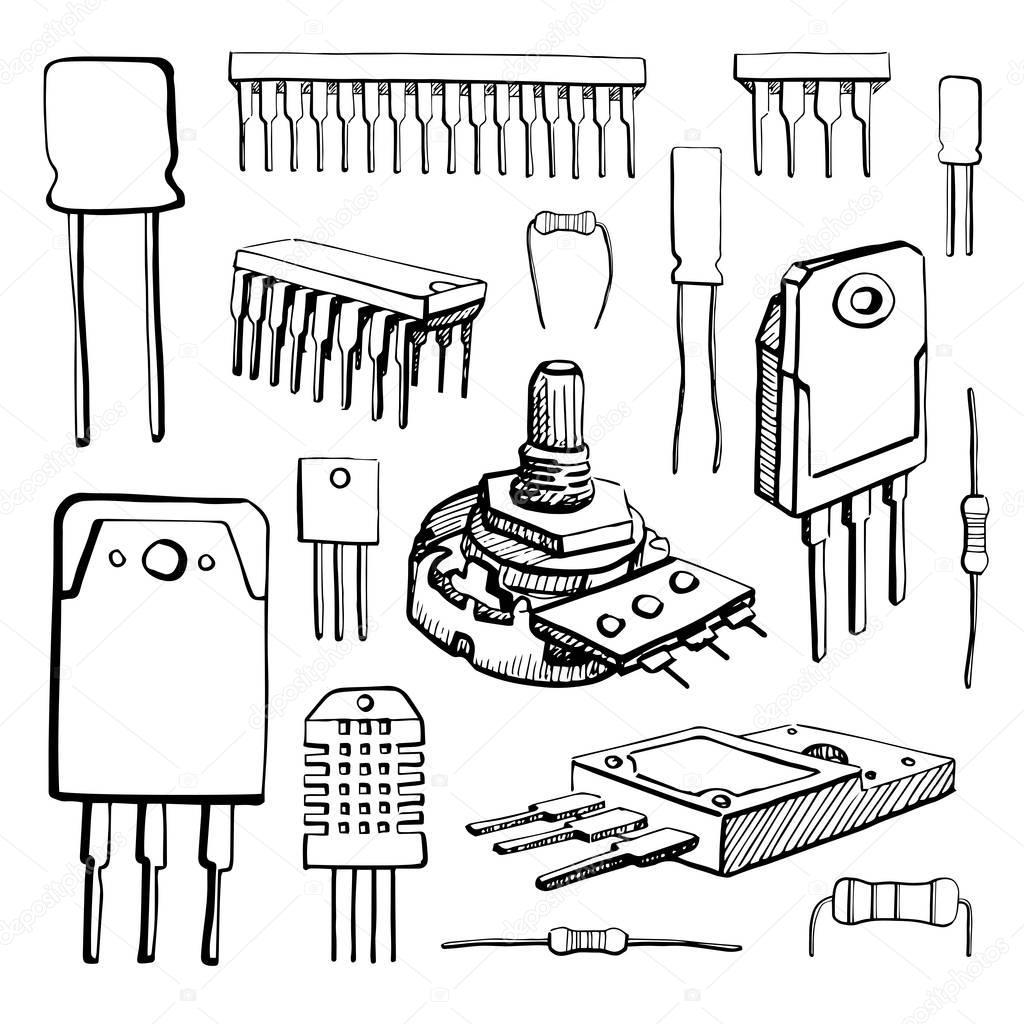 cz u0119 u015bci elektroniczne  mikrokontrolera  potencjometr  tranzystor  rezystor  czujnik  kondensator