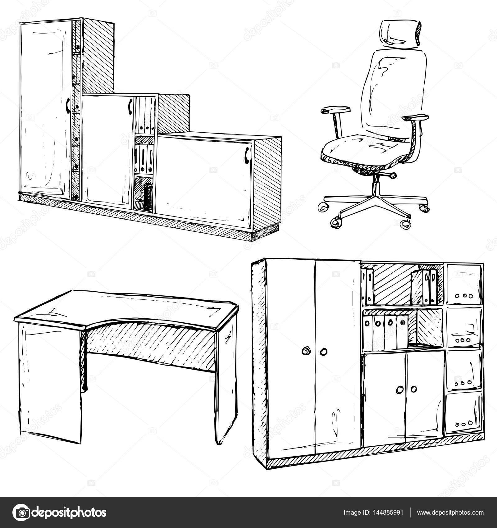 Set di mobili per ufficio sedia tavolo armadio isolato for Stock mobili ufficio