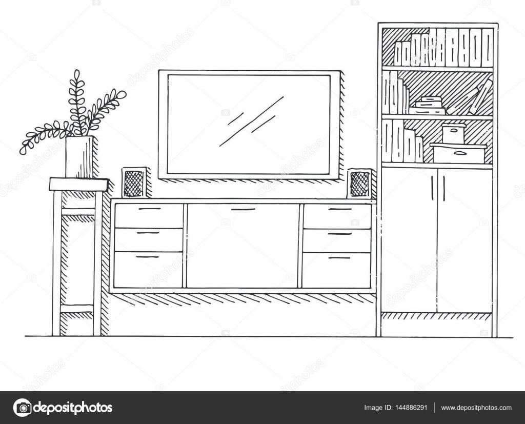 Bücherregal gezeichnet  gezeichnete Skizze. Lineare Skizze des Innenraums. Bücherregal ...