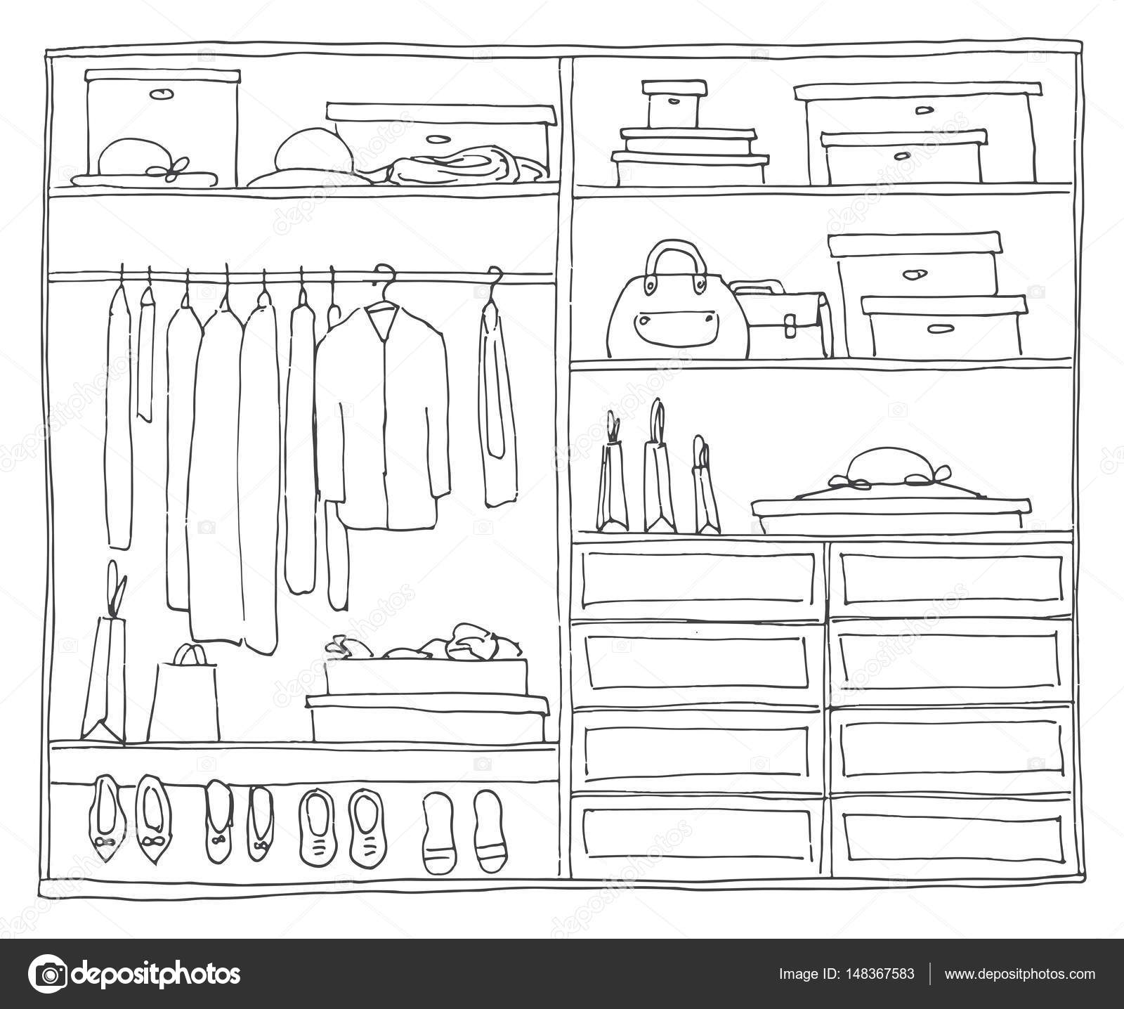 Artesanato Indigena Brasileiro ~ Armario abierto con estantes y colgadores de ropa Ilustración de vector de un estilo de dibujo