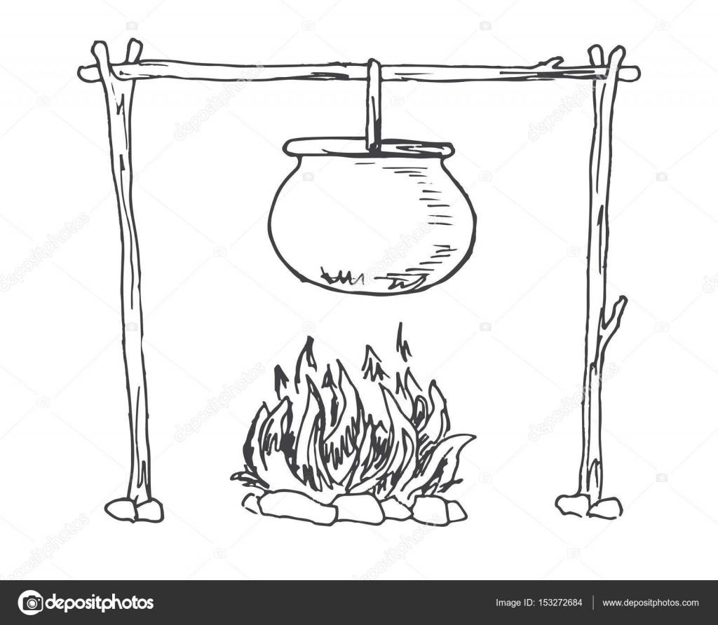 Lagerfeuer. Kessel über dem Feuer hängen. Vektor-Illustration eines ...