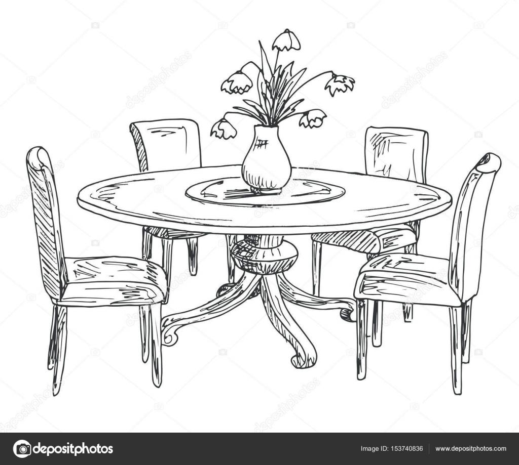 Parte della sala da pranzo tavolo rotondo e sedie sul for Sedie decorate a mano