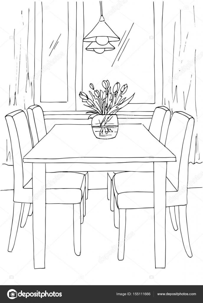 Teil Des Speisesaals Tisch Und Stühle In Der Nähe Des Fensters Auf