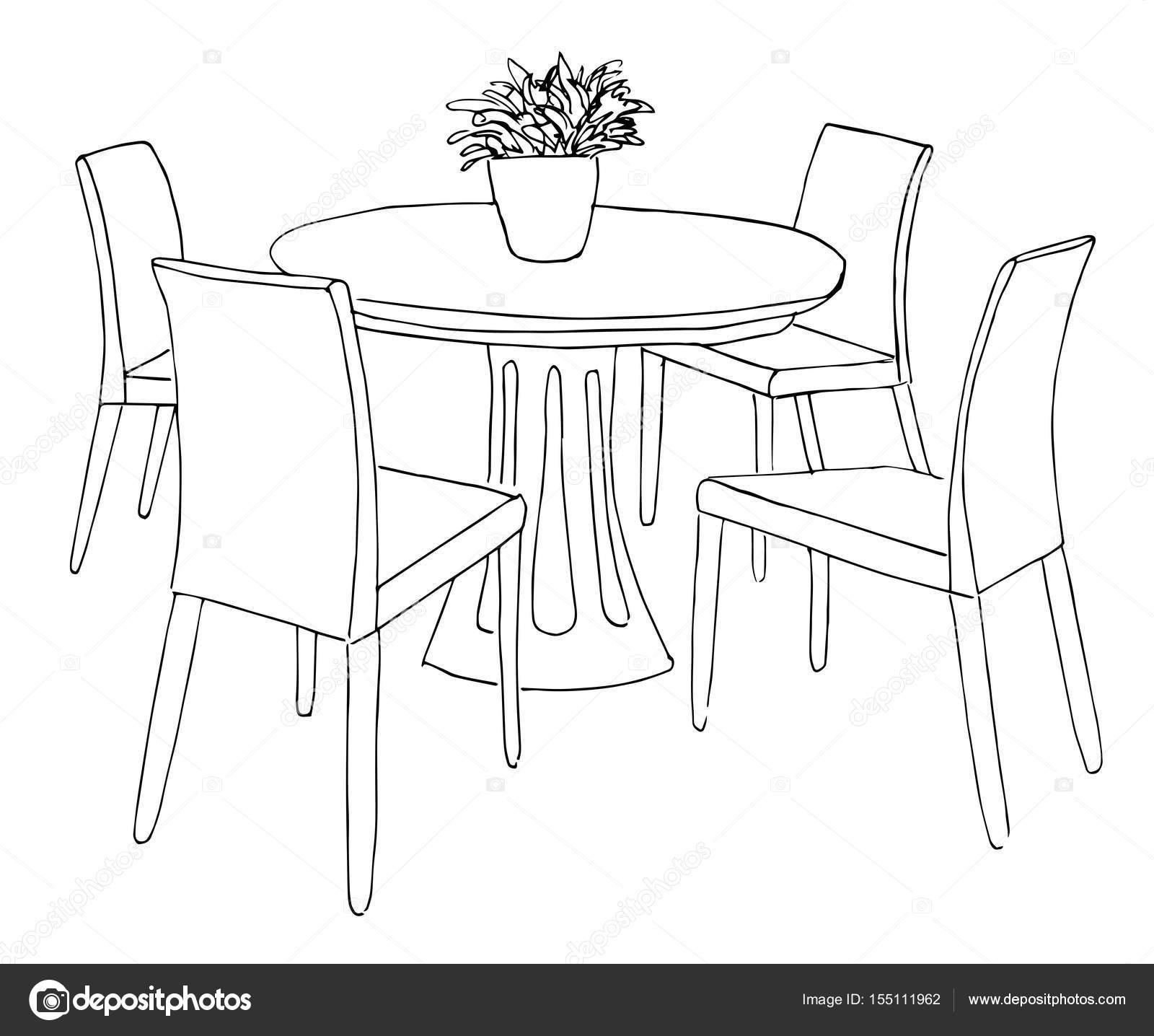 Teil Des Speisesaals Runder Tisch Und Stühle Auf Dem Tisch Vase