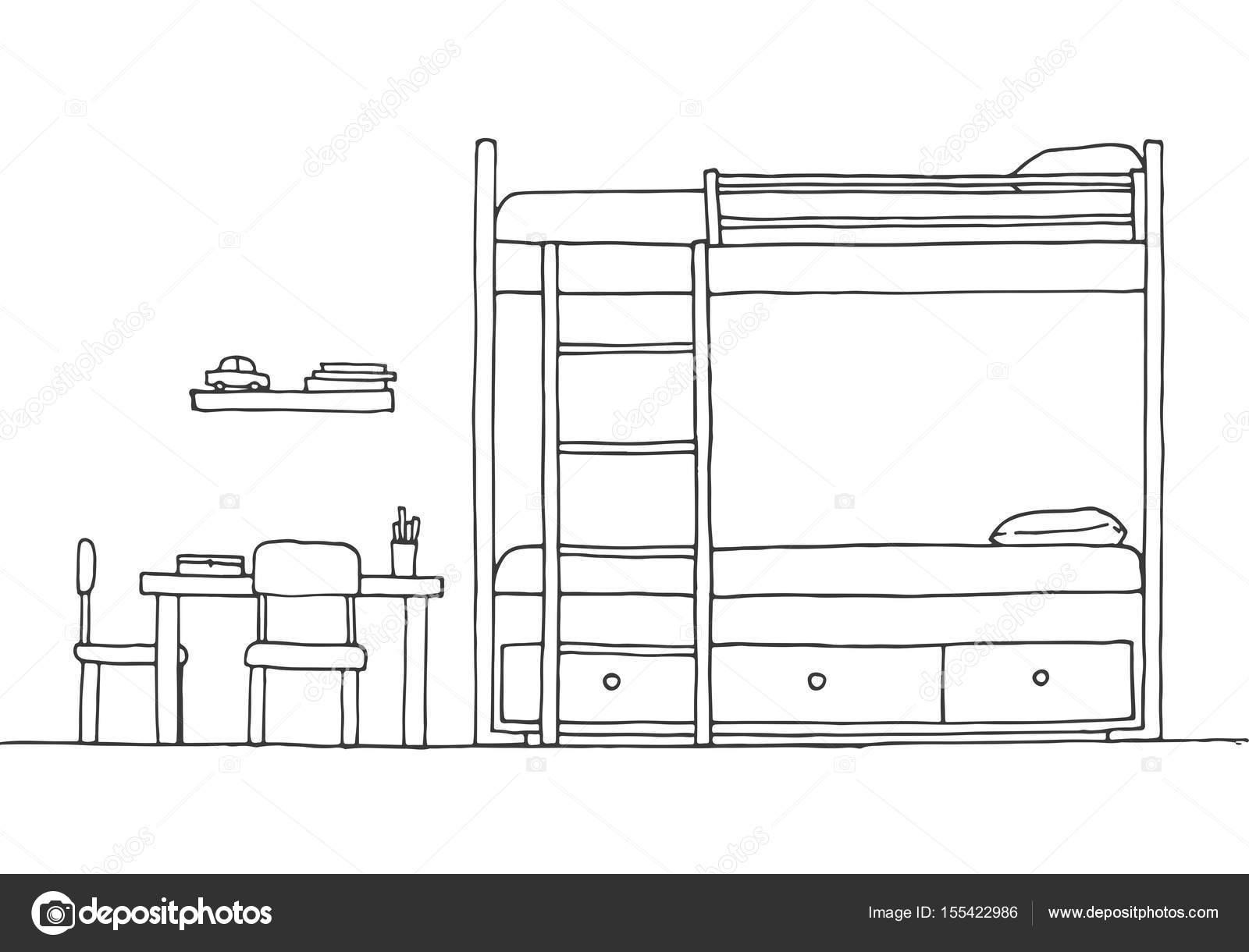 Children 39 s room children 39 s furniture bunk bed table and for Couch zeichnen