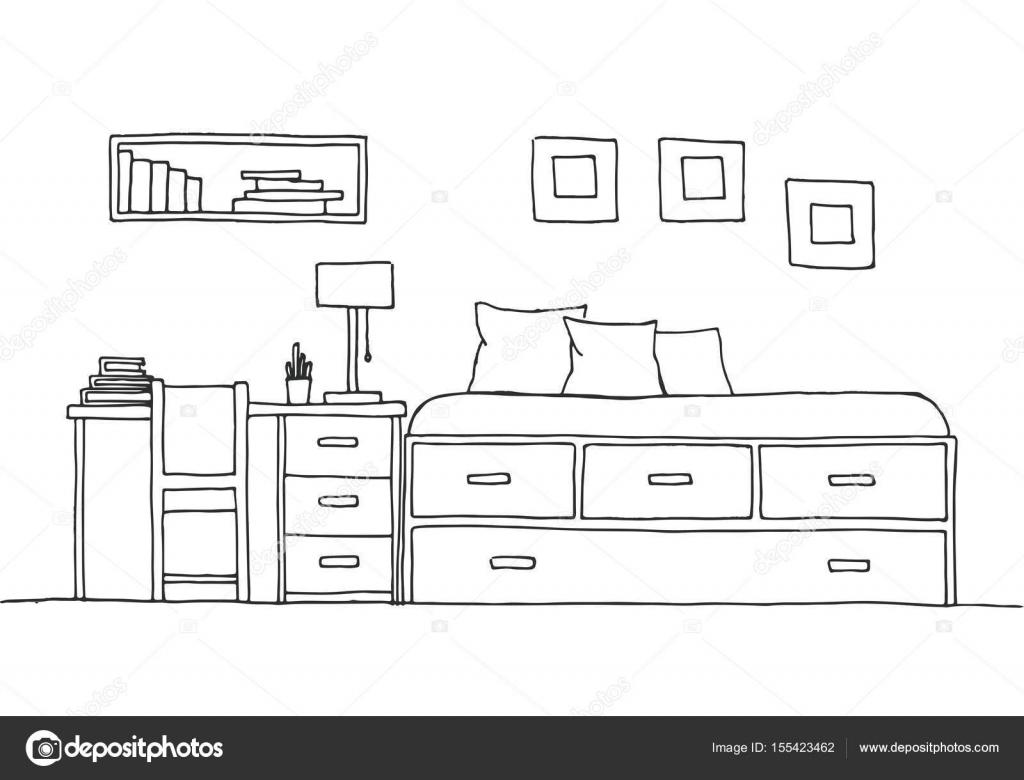 Kinderzimmer Kindermobel Bett Tisch Und Stuhl Hand Eine Skizze Stil Gezeichnete