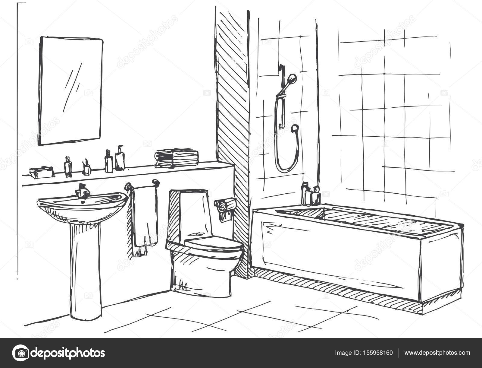 Schizzo disegnato a mano. Schizzo lineare di un interno. Parte del ...
