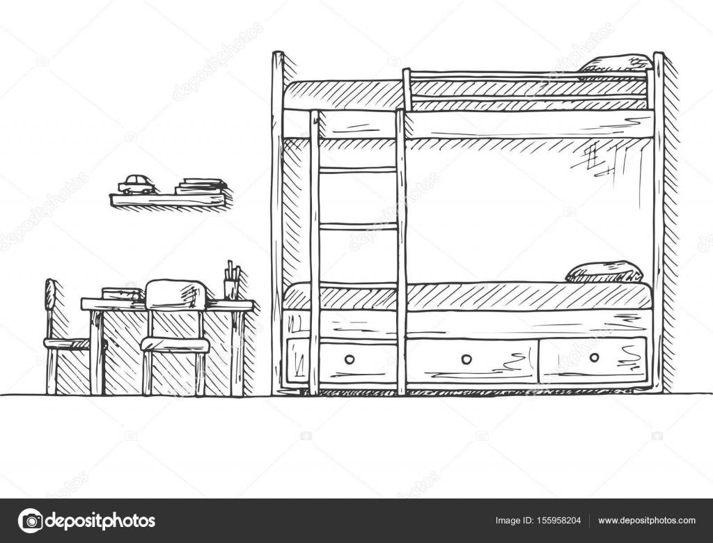 Kinderzimmer Kindermobel Bett Tisch Und Zwei Stuhlen Hand Eine Skizze Stil Gezeichnete Vektor Illustration Von Nadiiakudgmail