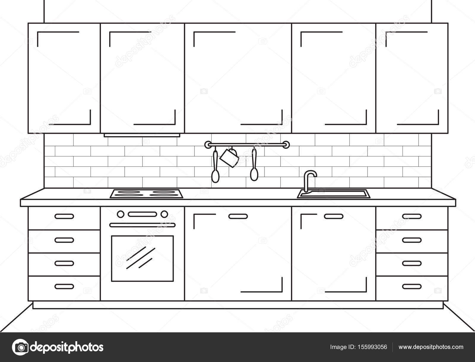 Muebles de cocina. Bosquejo en estilo de línea. Ilustración de ...