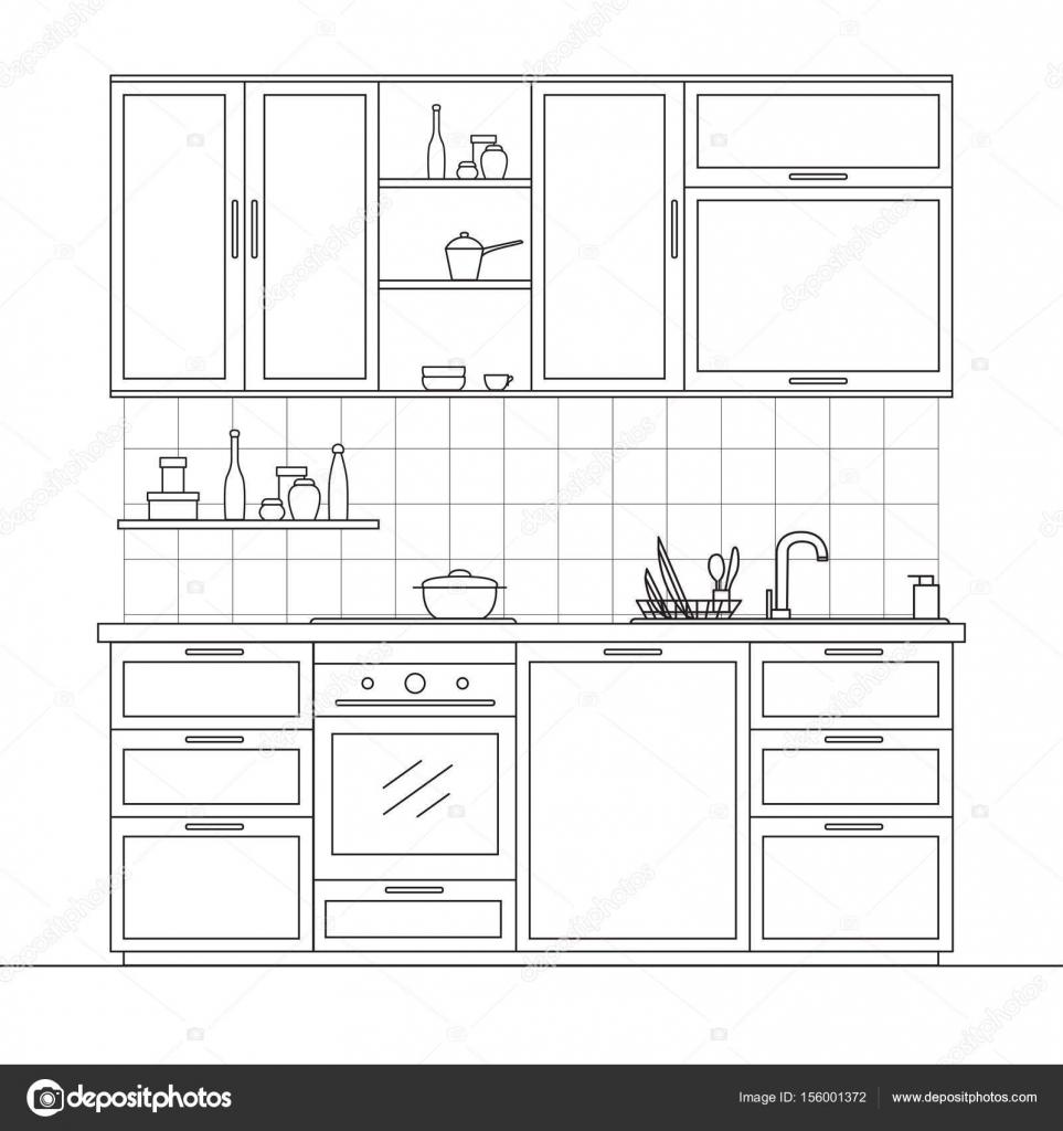Muebles de cocina. Cocina con armarios colgantes, estante, estufa ...